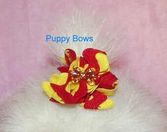 Puppy Bows ~ Red/Yellow or Blue bowknot center  zig zag puffs  dog bow pet hair clip or bands  ~USA seller