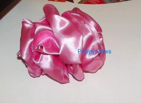 Becky Bows ~ Barrette rhinestones huge BIG hair bow Women or Girls large  solid PINK satin taffeta