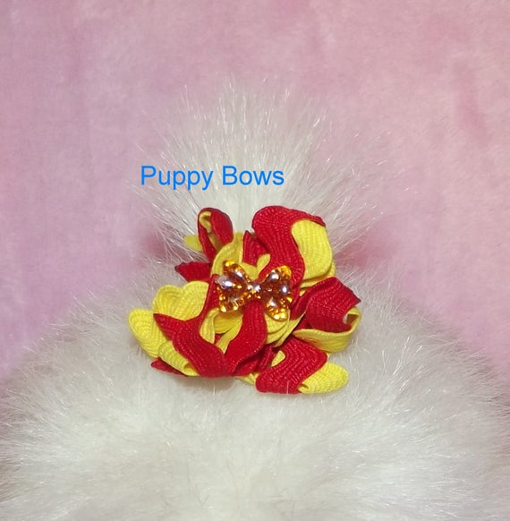 Puppy Bows ~ Red/Yellow or Blue bowknot center  zig zag puffs  dog bow pet hair clip or bands  ~USA seller (fb3)