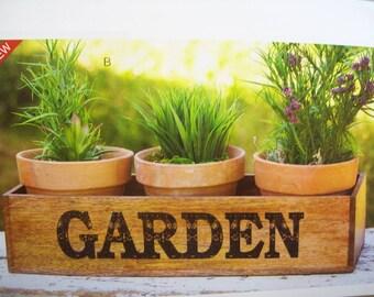 Wooden Garden Caddy w/3 Pots