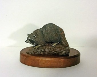 Hamilton Collection, The Audubon Bronzes by Norman and Herman Deaton, Collectible, Vintage Raccoon Figurine, Signed, Limited Edition, Signed