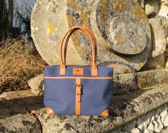 Sedgebrook Navy Canvas and Leather Handbag by BURGHLEY BAGS
