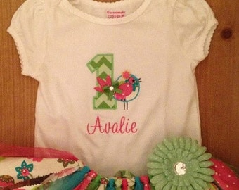 Pink, Green, and Turquoise Little Birdie Birthday Scrap Fabric Tutu Outfit