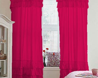 800TC Top & Bottom Ruffle Curtains 2-Panel Top Rod Pocket Hot Pink Choose Size