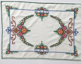 Vintage Cross-stitch large Table Mat / Runner