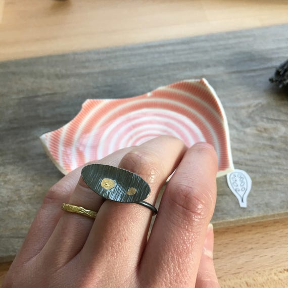 OOAK: Sessile Spore Ring in Recycled Sterling + 14k Gold