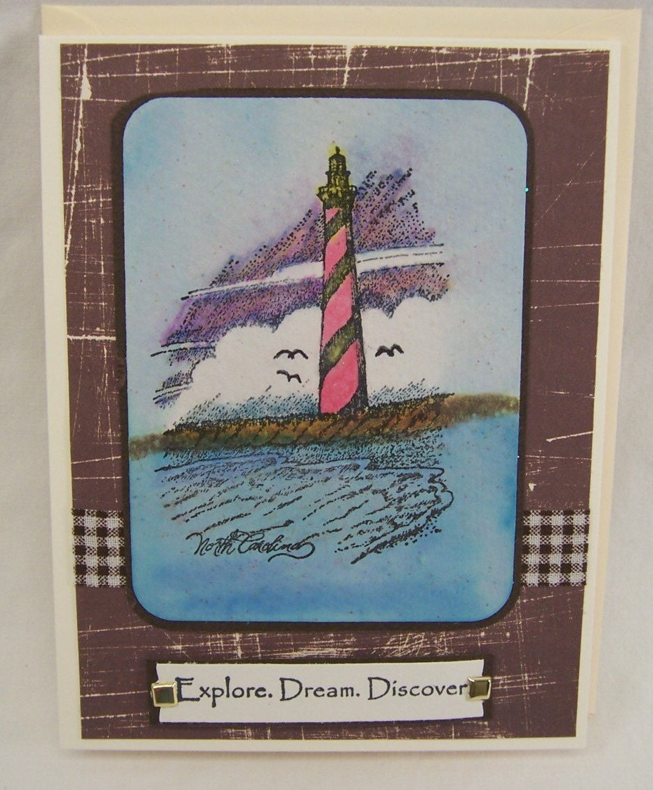 Handmade greeting card lighthouse handcrafted greeting cards kristyandbryce Choice Image