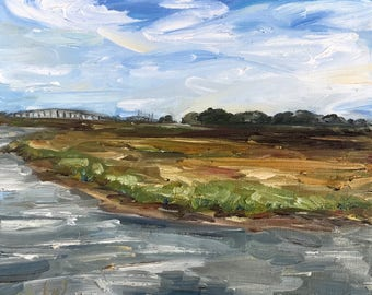"""Marsh at Fort Frederica, St Simon's Island, oil on canvas, 12"""" x 12"""""""