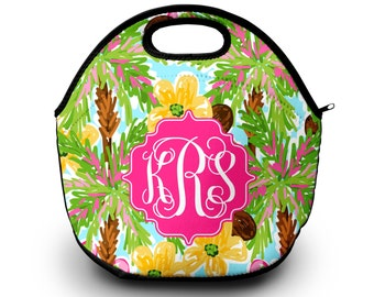 Monogrammed Lunchbox, Monogrammed Lunch Bags Insulated Neoprene, Monogrammed Lunch Bag, Personalized Lunch Tote,  Lunch Bag for Women