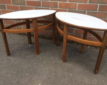 Mid Century Set of 2 Eyelet Coffee Tables