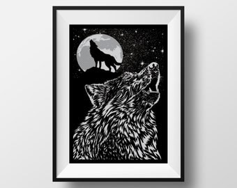 Howling Wolf - Hand Pressed Screen Print Poster - Original Design by XLUSIV