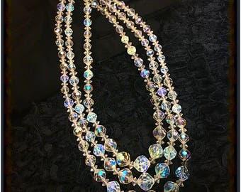 1940's Old Hollywood Aurora Borealis Laguna Triple Strand Crystal Beaded Necklace, Vintage Pin Up Necklace, 1950s Vintage Bombshell Choker