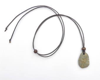 Australian Beach stone necklace - Rock pendant - Natural jewellery - Ocean jewelry - Beach pebble - Grey stone pendant