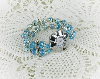 Wrist watch quartz watch bracelet ladies watch beads crystal glass beads