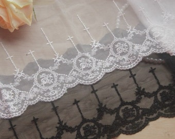 "2 yard Lace Trim Ivory Black Tulle Retro Cross Rose Floral Embroidery Lace Fabric 4.72"" width"