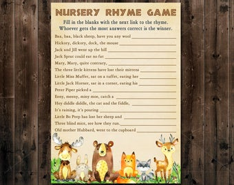 Woodland Baby Shower Game, Woodland Nursery Rhyme Game Printable, Woodland Shower, Forest Animals baby shower game - Instant Download  010