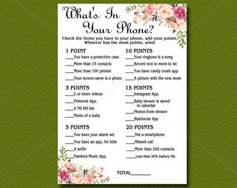 Floral Baby Shower game, Whats in Your Phone, Printable, Bohemian Peach Floral Boho Baby Shower Activity DIY Instant Download 021