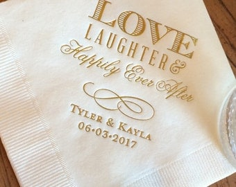 personalized wedding napkins personalized napkins bridal shower wedding napkins custom monogram love laughter and happily ever after
