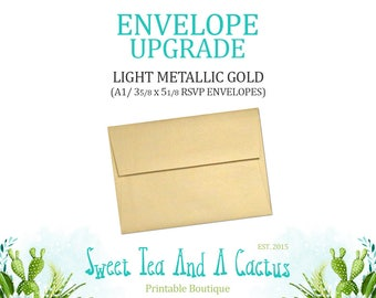 Envelope Upgrade - Upgrade to Light Gold Metallic A1 (RSVP) Envelopes - Only Available with purchase of invitations from my shop