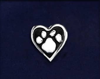 Paw Print Heart Tac Pin (1 Pin - RETAIL) (RE-PPP-04)