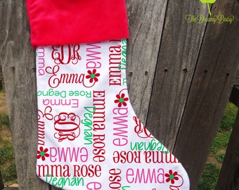Monogrammed Christmas Stocking - Kids' Custom Xmas Stocking - Personalized Stocking for Girls with Name and Initials - Choose Your Colors