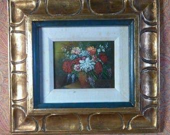 Old Vintage Oil Painting Floral Still Life Flowers Framed Carved Wood Original