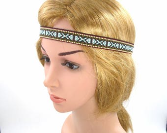 Brown Boho Headband,Bohemian Headband,Brown Tribal Headband,Hippie Yoga Halo Forehead Headband,Girls Women Hairband,Elastic,Adult,Men,Brown