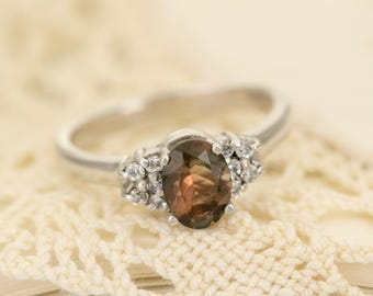 Oregon Sunstone in Sterling Silver Ring, Style VK