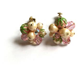 Vintage Vendome Pink Crystal and Faux Pearl Earrings