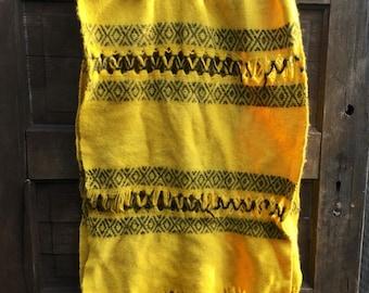 Vintage Handwoven Mustard Yellow and Dark Brown Geometric Shawl/ Wide Scarf