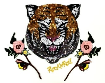Tiger head n flowers sequins patch vintage embroidered patch