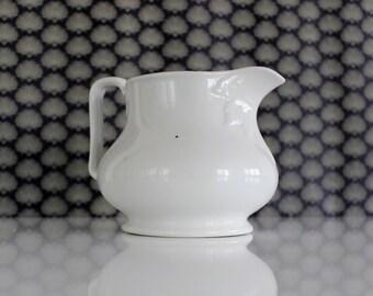 White Ironstone Pitcher, White Antique Pitcher, French Shabby Chic Vase, White Ceramic Pitcher, French Ironstone Farmhouse Pitcher Jug E4