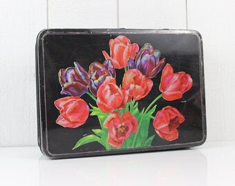 Black and Red Vintage Tin box, Lithographed Tulip Flower, Black Metal Storage, 1950s French Mid Century Vanity Decor, Makeup Case -  E243