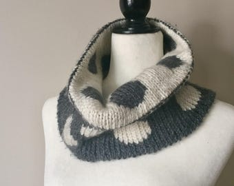 Grey and Off White Reversible Cowl