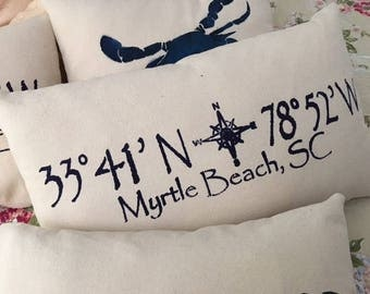 "Hand stenciled Myrtle Beach throw pillow 12x20"" on cotton canvas fabric"