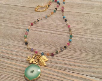"Gold multi gemstone necklace~mint green solar agate geode~gold accent charms bee and leaves 9.5""=19"""