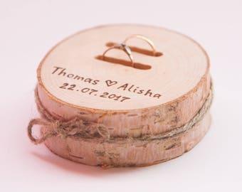 Birch ring bearer pillow,  wedding wood slice, rustic ring box,  birch wedding decoration, wood wedding decor, ring pillow alternative,