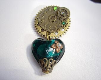 Steampunk Gear Cog Teal Green Heart Clock Face Brooch Pin Badge