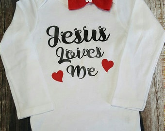 Jesus Loves Me, Religious Boy or Girl Baby Onsie Bodysuit .T-shirt