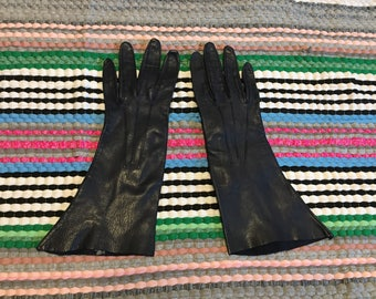 Navy Blue Gloves Leather Vintage size 6.5