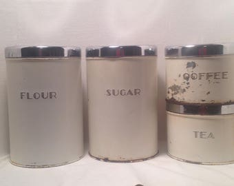 Art Deco Black White Canister Set Vintage Garnerware FARMHOUSE style