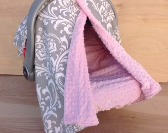 Canopy Tent- Grey And White Damask/ Pink