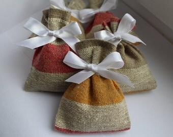 Multicolor linen small bags - 50 pcs ~ Rustic wedding favor - Wedding favor bags - Stripe gift bags - Linen favor bag - French linen bags