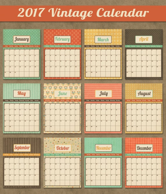 Vintage Calendar 2017 Printable : Items similar to printable calendar monthly
