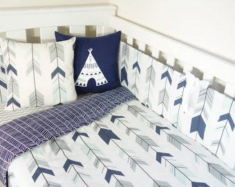 Mint, navy and grey joining arrows and navy herringbone nursery set