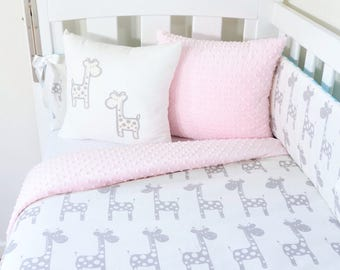 Grey and pink, giraffe nursery items