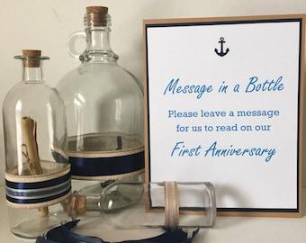 Message in a bottle Wedding - Navy - Wedding guest book  - Guest Book #2079