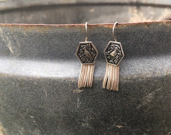 Boho silver earrings