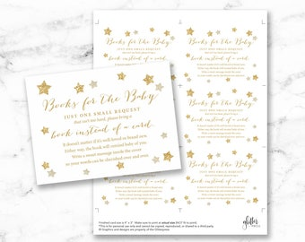 Twinkle Star baby shower book request cards printable, gold books for baby insert, bring a book instead of a card DIY, INSTANT DOWNLOAD, 006