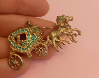 Vintage brooch carriage horses blue rhinestones gold tone 1940's
